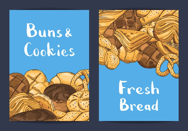 Shop flyers templates with bakery elements