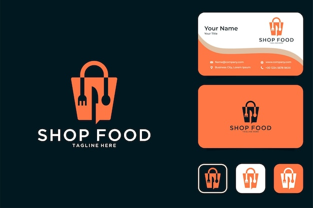 Shop food with spoon and fork logo design and business card