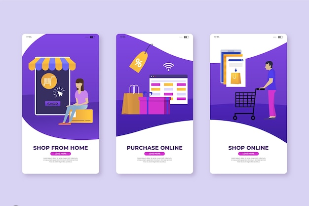Shop from home mobile app screens