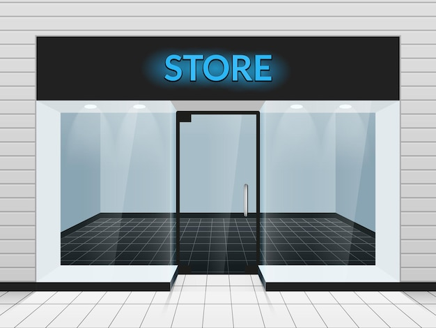 Shop front or store front view illustration. template of design fashion store facade