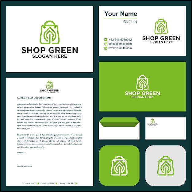 Магазин зеленый с визиткой