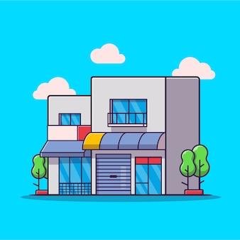 ショップハウス漫画ベクトルイラスト。ビジネスビルディングコンセプト分離ベクトル。フラット漫画スタイル