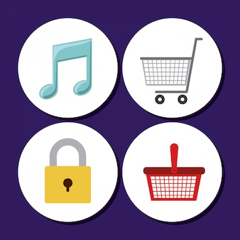 Shop icons design. shopping cart, music note and closed lock