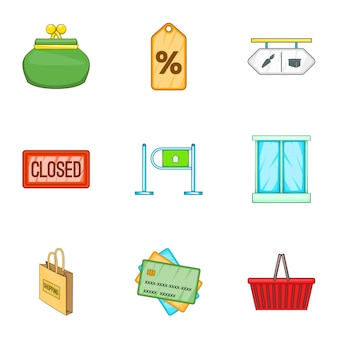 Shop icons set, cartoon style