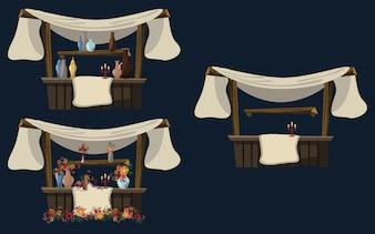Shop in Arabian night vector illustration