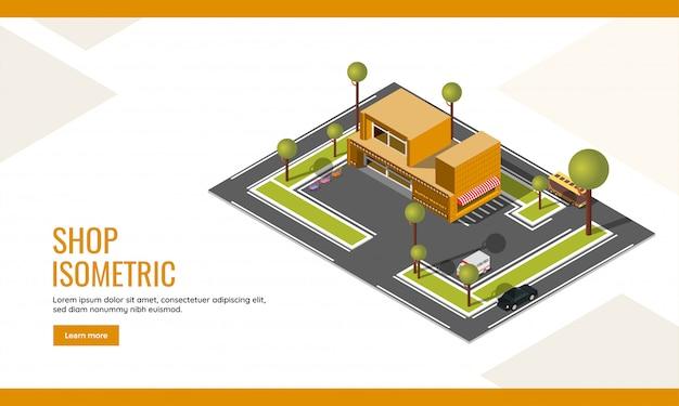 아이소 메트릭 슈퍼마켓 상점 건물 및 차량 주차 마당 배경의 평면도와 상점 방문 페이지 또는 웹 포스터 디자인.