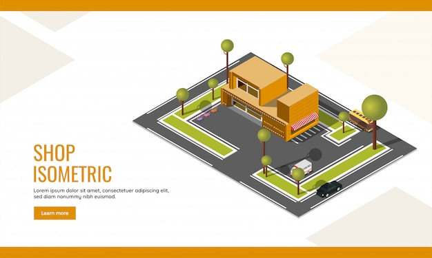 Shop landing page or web poster design with top view of isometric supermarket shop building and vehicle parking yard background.