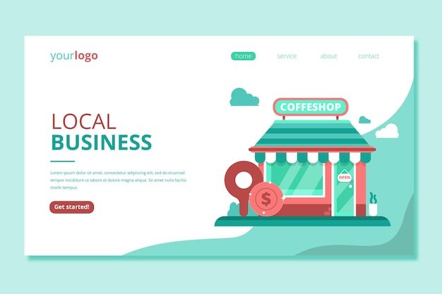 Shop local business landing page