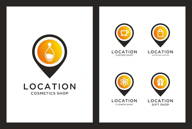 Shop location logo design in pin marker consept.