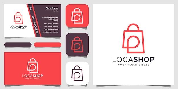 ショップロケーションロゴデザインテンプレート、ピンマップと組み合わせたバッグ。