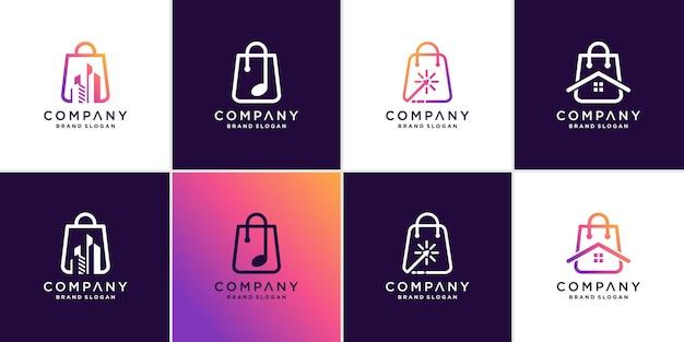 Коллекция логотипов магазина с различными элементами и креативным стилем premium векторы