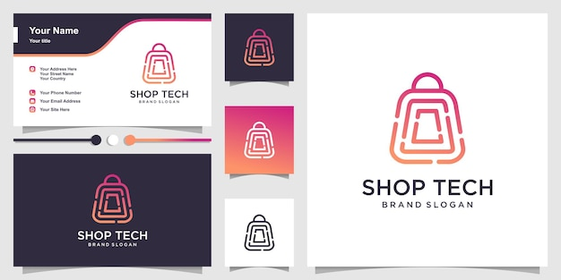 Shop logo with line art technology concept and business card design Premium Vector