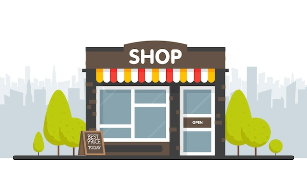 Shop or market store front exterior facade,  illustration on sity space background.