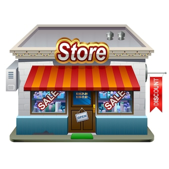 Shop or market store front exterior facade, illustration