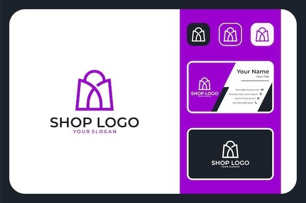 Shop modern line art logo design and business card