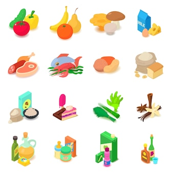 Shop navigation foods icons set. isometric illustration of 16 shop navigation foods vector icons for web