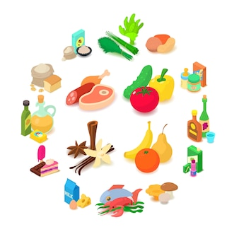 Shop navigation foods icons set, isometric style