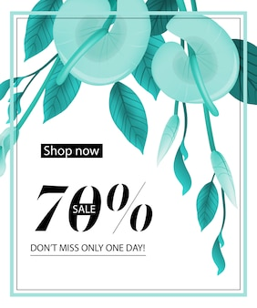Shop now, seventy percent sale, do not miss only one day, coupon with mint calla lily