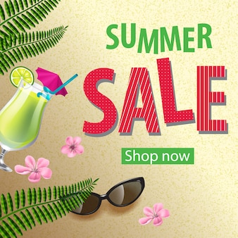 Shop now summer sale poster with pink flowers, sunglasses, mojito and tropical leaves.