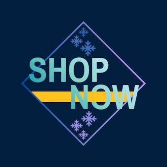 Shop now winter design vector
