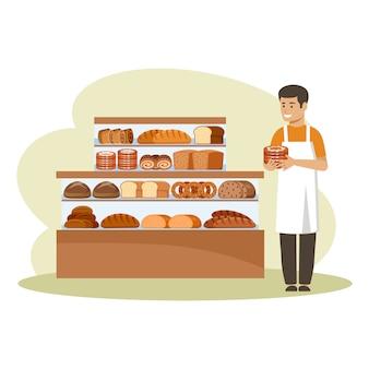 Магазин хлебобулочных изделий. счетчик. продавец держит бублики