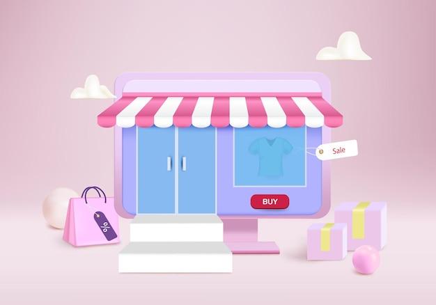 온라인 쇼핑을 위해 상자와 가방이있는 컴퓨터에서 쇼핑