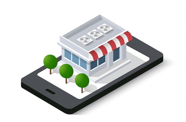 Shop online of isometric city mobile phone