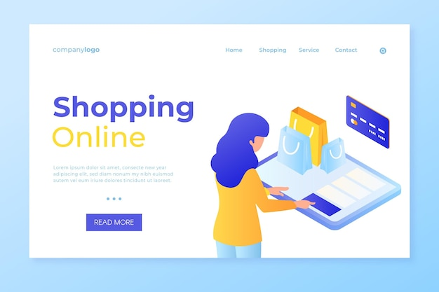 Shop online and pay by card landing page