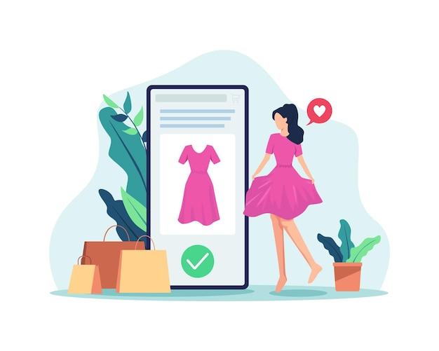 Делайте покупки в интернете с помощью мобильного телефона. доволен и доволен покупками в интернете. плоский стиль
