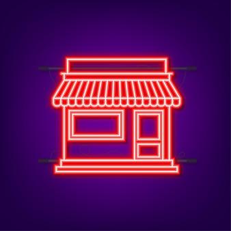 Магазин или рынок перед фасадом магазина. неоновая иконка. векторная иллюстрация.