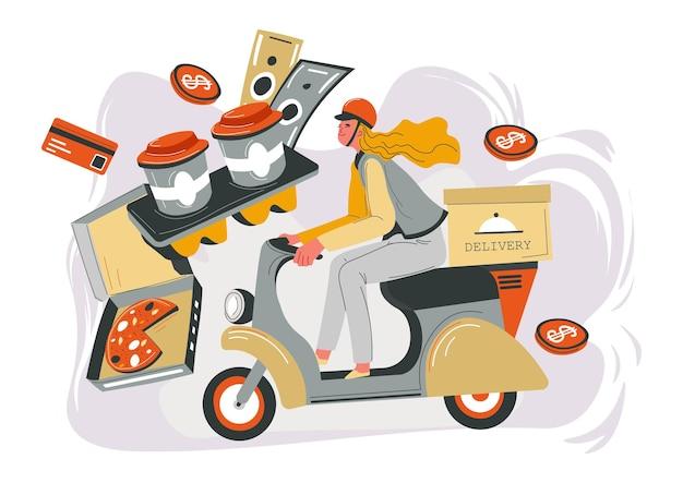Доставка в магазин или магазин, кафе или ресторан в срок. женщина на велосипеде с пакетом и блюдом. кофе в пластиковых стаканчиках. банкноты и монеты для обслуживания. заказ и покупка еды. вектор в плоском стиле
