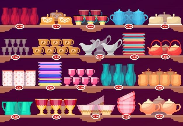 주방 요리, 그릇이있는 상점 또는 상점 쇼케이스