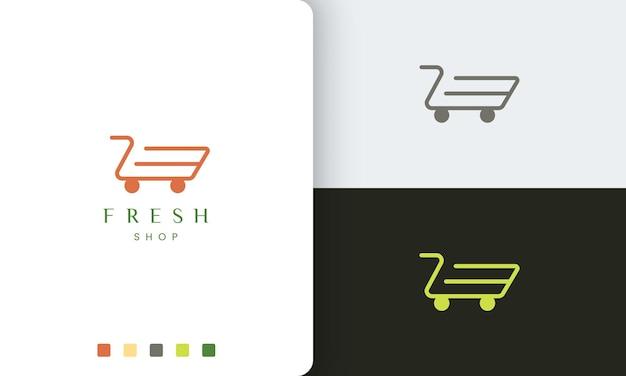 Шаблон логотипа магазина или тележки с простой формой