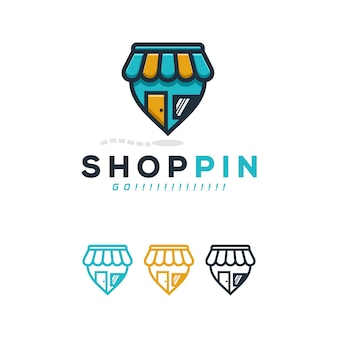 Shop pin logo concept.