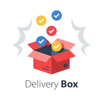 Shop purchase delivery, open order package, multiple set of articles, wholesale products, receive postal parcel, unpack surprise box,  flat illustration