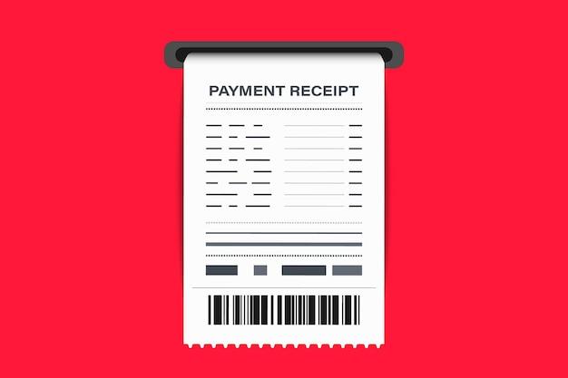 바코드가 있는 쇼핑 영수증. 종이 수표, 영수증 및 재정 수표. 송장 기호입니다. 재화의 판매 또는 용역 제공의 영수증. 지불에 대한 수표를 받는 개념