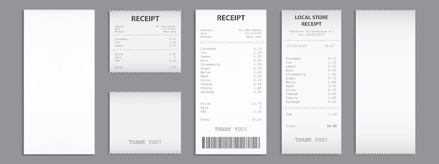 Shop receipts, paper cash checks with barcode.