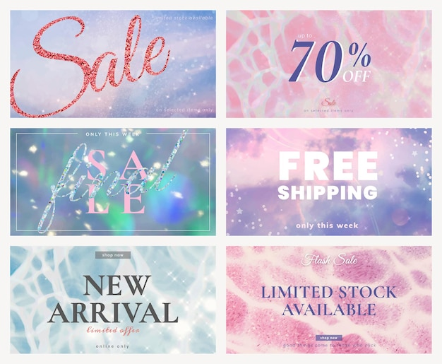 Shop sale ad template vector glitter set for social media post