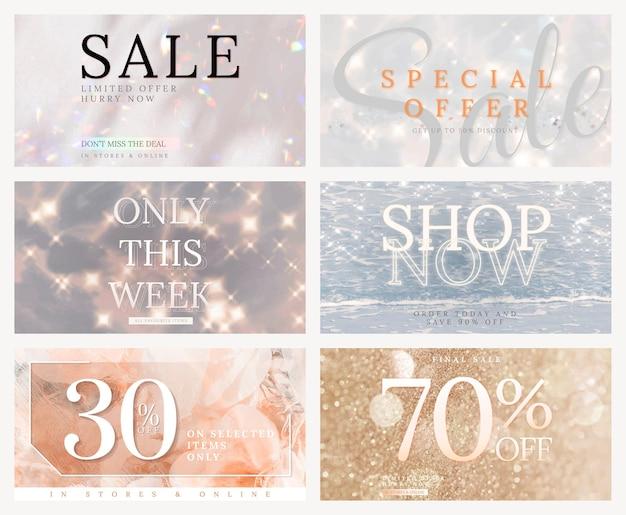 Set di glitter vettoriali modello modificabile in vendita negozio per annunci sui social media