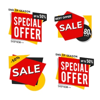 Shop sale promotion advertisements vector set