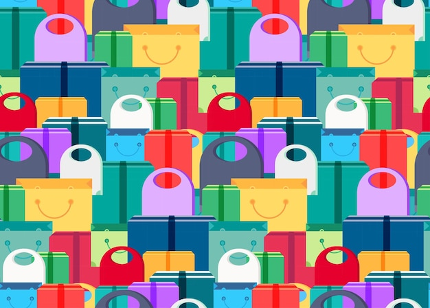 Shop seamless pattern from shopping bags, boxes and packages with products. sale banner. shelves store with offer for print, wrap, flyer, sticker, poster. vector