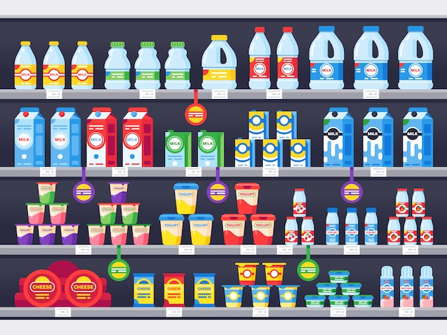 Shop shelf with milk products. dairy grocery store shelves, milk bottle supermarket showcase and cheese product