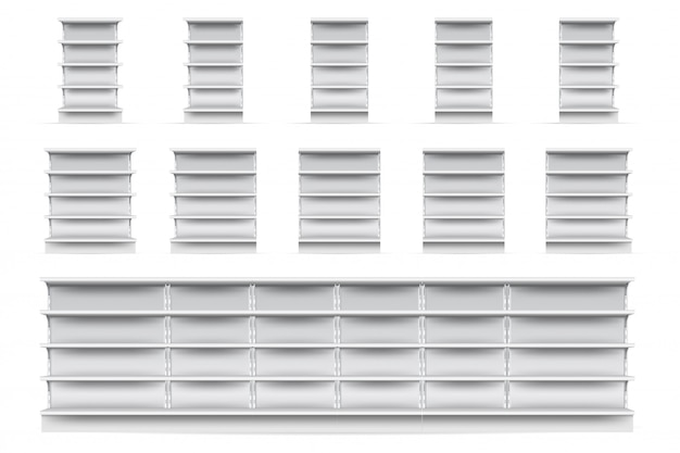 Shop shelves set.  empty supermarket store showcase shelve icon collection. realistic blank white retail shop display shelves front view.  market and business concept