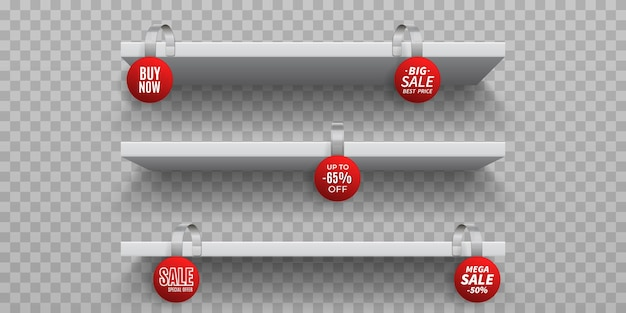 Shop shelves with wobblers. white 3d empty wall shelf with realistic round promotional wobblers.