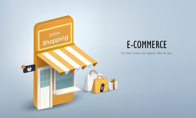 Shop on the smartphone with gift box and bag for online shopping