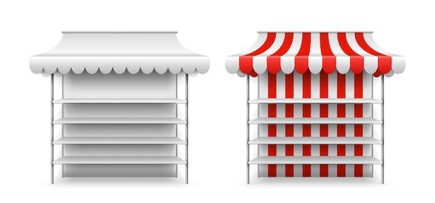 상점 마구간 모형. 격리 된 3d 시장 천막, 공정한 공급 업체입니다. 선반, 거리 키오스크 또는 상점이 있는 현실적인 빈 스탠드. 식료품 카운터 벡터 일러스트 레이 션. 판매용 스탠드 스톨, 차양 소매