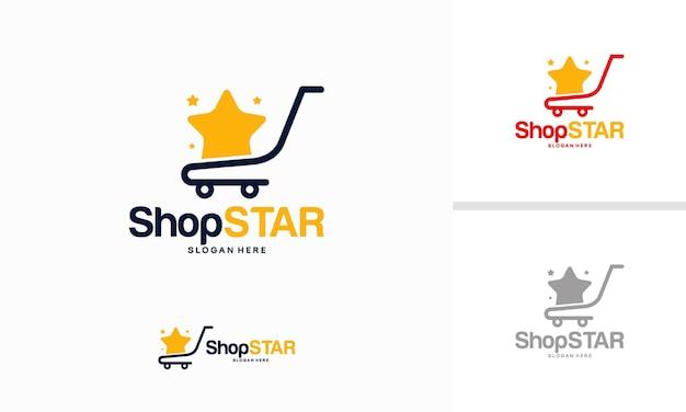 쇼핑 스타 로고 디자인 개념, 쇼핑 카트 로고 디자인 서식 파일 벡터