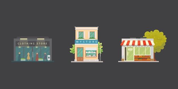 Набор иллюстраций зданий магазина магазина. внешний вид рынка, ресторан. овощной магазин, аптека, бутик, фасадные дома городского типа.