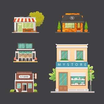 Набор зданий магазина магазина. внешний вид рынка, ресторан и кафе. городские фасадные дома.