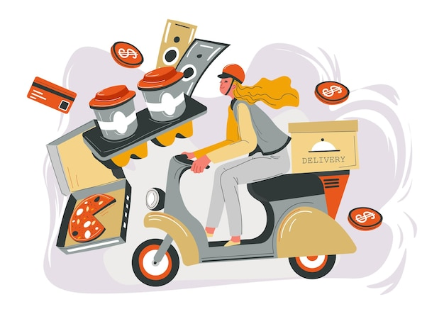 Shop or store, cafe or restaurant delivery in time. woman on bike with package and dish. coffee in plastic cups. banknotes and coins for service. ordering and buying food. vector in flat style